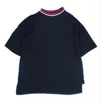 Stripe Rib Mock Neck Tee - Tencel Knit / Black