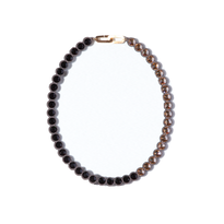 BANQUET BIJOU necklace | round short , Jet black × Crystal golden shadow
