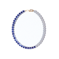 BANQUET BIJOU necklace | round short , Saphire × Light gray opal