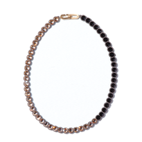 BANQUET BIJOU necklace | round middle , Crystal golden shadow × Jet black