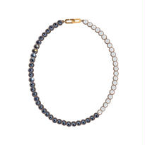 BANQUET BIJOU necklace|round middle , Denim blue × White opal