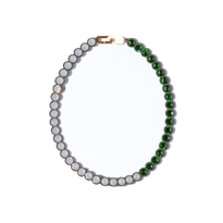 BANQUET BIJOU necklace | round short , Light gray opal × Fern green