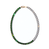 Banquet bijou necklace | round middle , Fern green × Light gray opal