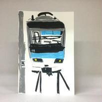手描きポストカード005「地下鉄東西線」