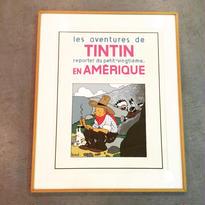 "Hergé:Tintin ""En Amérique""  〈マット+木製額装済〉"