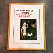 "Hergé:Tintin ""Au Congo"" 〈マット+木製額装済〉"