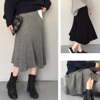 knit ミモレ丈 フレアスカート//2color