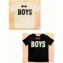 BOYS 蝶ネクタイ(取外し可) ロゴ Tシャツ//2color (100㎝~150㎝)