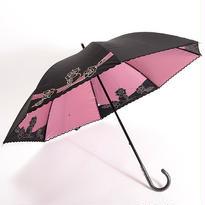 花刺繍の傘(ピンク) 50cm/長傘 晴雨兼用 [H91227]