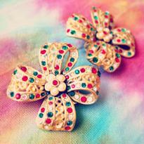 Earring  リボンと花