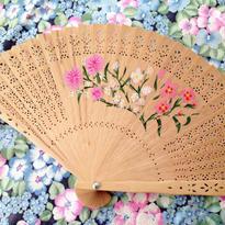 Fan  手描きの花柄