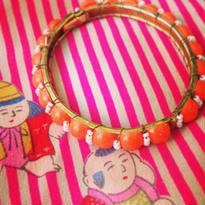 Vintage Bracelet  オレンジと白ポップ