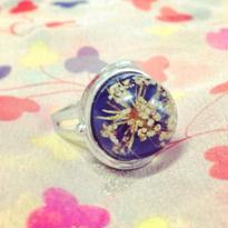 Vintage Ring  青にライスフラワー
