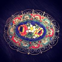 Vintage Micro-Mosaic Brooch  縁も美しい硝子花園