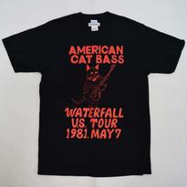 「猫ベース」レコードワッペン猫ツアーTシャツ  ブラック S/M/L WATERFALLオリジナル限定商品