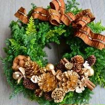 杉とヒバのクリスマスリース 「ビジューなブラウンリボン」