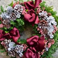 杉とヒバのクリスマスリース 「アンティークホワイト」