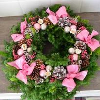 杉とヒバのクリスマスリース 「ラブリーピンク」
