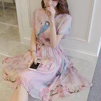 新作♡プリントドレスワンピースシフォン 高級ワンピースドレス