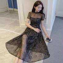 新作♡ ブラック レースシースルーエレガントドレスワンピース 結婚式ドレス