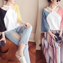 新作♡カラフル ホルターネック Tシャツ 全2色