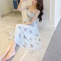 新作♡  ドレス シースルー ワンピース 刺繍 ひざワンピース
