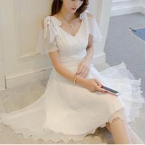 新作♡ドレス シフォン 肩リボン 結婚式ドレス ミニワンピース