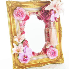 楽屋ミラー☆壁掛け額縁タイプ【ピンク】