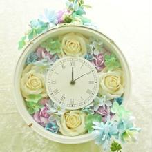 時計☆蓄光ローズ花時計【スカイパステル】