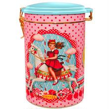 UK発☆Wu & Wu☆レトロな女の子とメリーゴーランドのプリントが可愛い缶【コーヒー缶】【小物入れ】【キッチュ】インポート雑貨