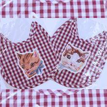 Natalie Leteナタリーレテ☆インポート雑貨/ネコのアプリケが可愛いギンガムチェックのスタイ(パープル)Bib with a Cat Patch