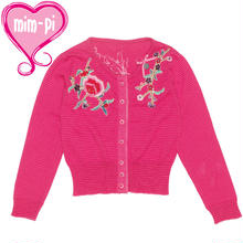オランダMim-Pi(ミンピ)刺繍ニットカーディガン★お花の刺繍が素敵なピンクのストライプカーディガン