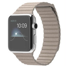 大特価Apple Watch MJ432J/A 42mm ステンレススチールケース ストーンレザーループ Mサイズ  (stone)