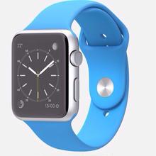 大特価Apple Watch Sport 42mm シルバーアルミニウムケースと ブルースポーツバンド …