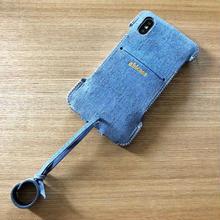 1点限定品【アウトレット】iPhoneX用ウォレットジャケット/TEMPESTI社SCRUTCH(COBALT/シャンブレー)