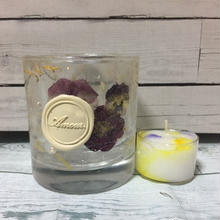 Glass Candle Holder (Viola&marygold)