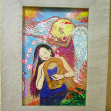 愛の広がりプロジェクト第3弾 No.3【ハワイの天使とライアーを弾く女性の絵】