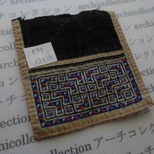 モン族の襟飾り no.39  13x14 cm  Hmong embroidery needlework はぎれ ラオス タイ