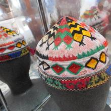 ウズベキスタン ウズベク族UZBEK WOMEN'S CAP46 刺繍女性用帽子47h11cm