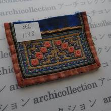 モン族の襟飾り no.66 11x8 cm  Hmong embroidery needlework はぎれ ラオス タイ