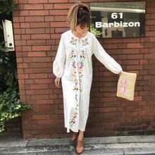 ぷっくり袖刺繍BOHEマキシワンピ