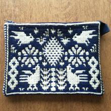 ヤノフ村の織物 ポーチ 鳥と幾何学模様 #1264