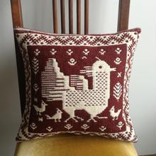 ヤノフ村の織物 クッションカバー(37×35cm) ニワトリとヒヨコ #930