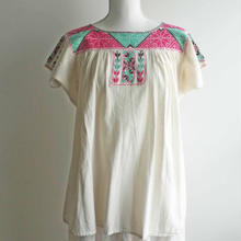 オアハカの刺繍ブラウス エフートラのクロスステッチ ピンク EJ12
