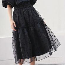 ★ブラックシースルードットスカート★ ladies