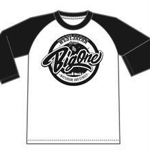 ラグランTシャツ袖黒×白