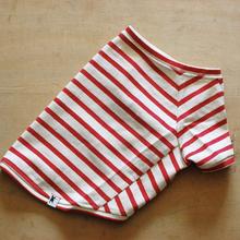 バスクボーダーシャツ(オフホワイト×レッド)
