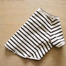 バスクボーダーシャツ(オフホワイト×ダークブラウン)