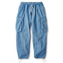 INTERBREED WASHED DENIM RELAX CARGO TROUSER   INDICO