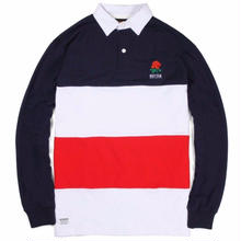 BUTTER GOODS  ROSE L/S POLO    NAVY/RED